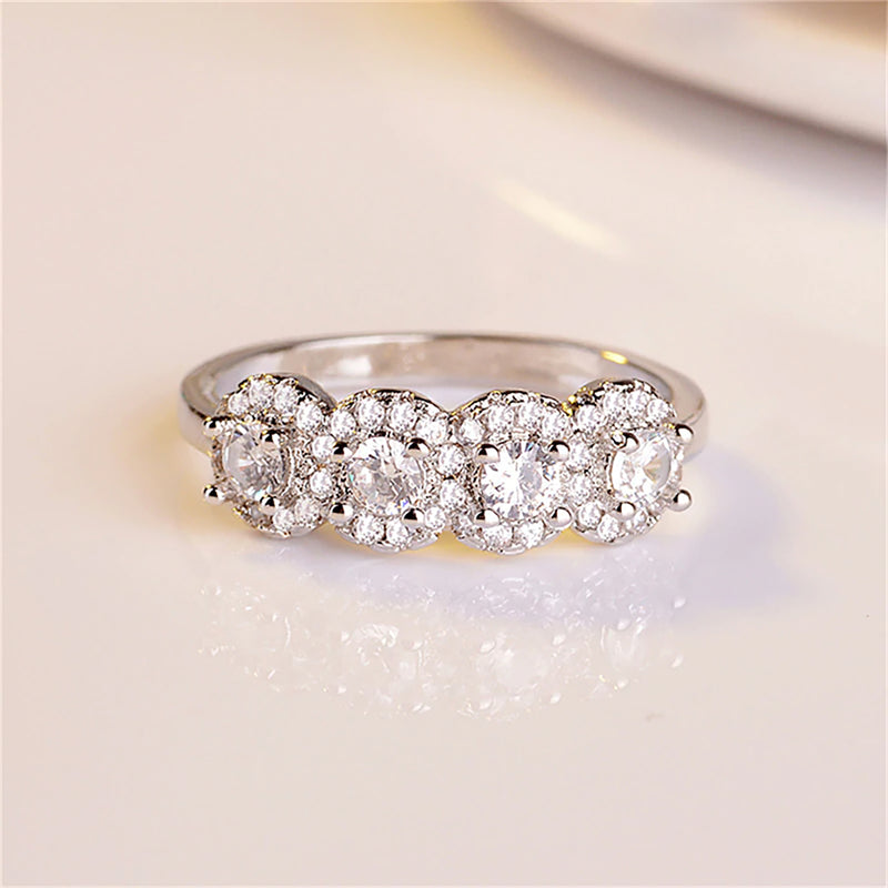 Cute Crystal Circle Ring Halo Eternity Wedding Band Promise Graduation Wedding Gift Ring - www.Jewolite.com #rings