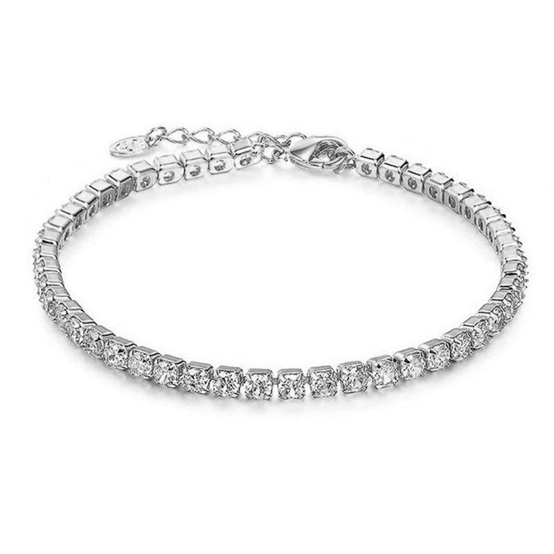 Simple Fancy Crystal Single Chain Bracelet in Gold or Silver (www.Jewolite.com) #bracelet