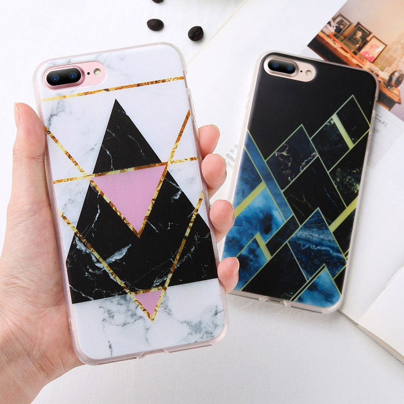 Cute Gold Geometric White Marble IPhone Cases for Teens Unique Aesthetic Protective Silicone Phone Case - caja del teléfono lindo - www.Jewolite.com