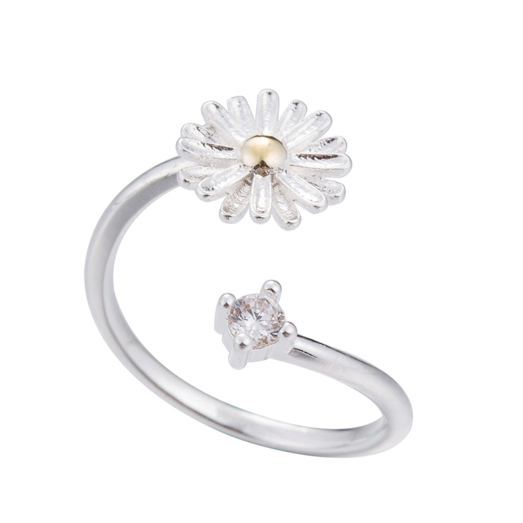 Cute Simple Daisy Dainty Ring Fashion Jewelry for Teens Boho Crystal Women's Floral Flower Stackable Silver Ring (www.Jewolite.com) #rings