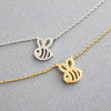 Cute Dainty Bumble Bee Pendant Chain Necklace Choker in Gold or Silver for Teen Girls Women - abeja lindo collar colgante para las niñas adolescentes - www.Jewolite.com