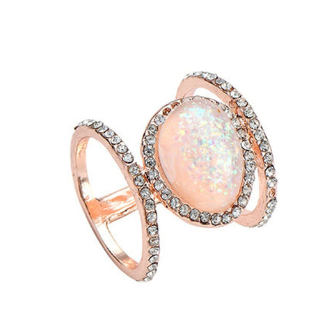 Soleil Cute Boho Opal Crystal Sun Star Gold Statement Ring