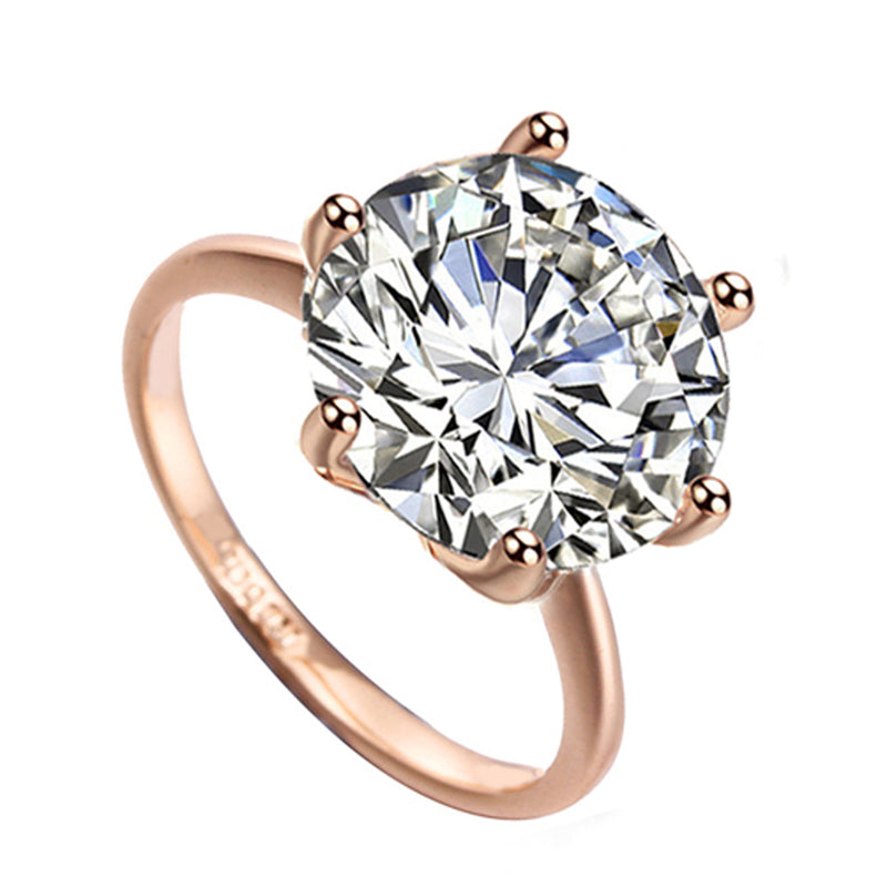 Simple Sparkly Solitaire Ring Cute Large Crystal Cubic Zirconia Rings Promise Engagement Wedding Present Ring Set in Silver or Rose Gold Statement Fashion Jewelry for Women (www.Jewolite.com) #rings