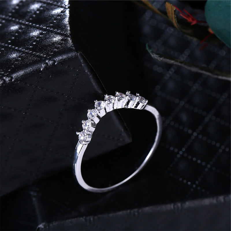Unique Cute Spiky Ring Set for Engagement Wedding Promise Graduation Present Gift in Silver - lindos anillos - www.Jewolite.com #rings
