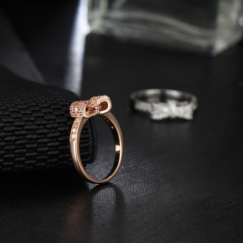 Cute Bow Knot Ring Simple Dainty Crystal Bowknot Rings in Silver or Rose Gold Statement Fashion Jewelry for Teens for Women Promise Anniversary Graduation Present (www.Jewolite.com) #rings