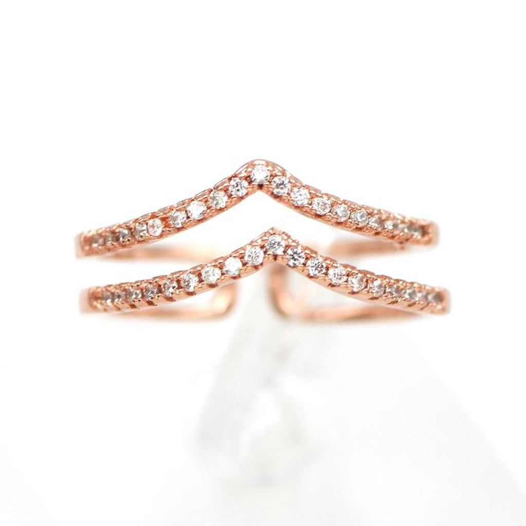 Cute Dainty Double Arrow Chevron Ring in Rose Gold, Gold, Silver Crystal Fashion Jewelry Statement Rings for Teens Girls for Women bonita flecha anillos (www.jewolite.com)