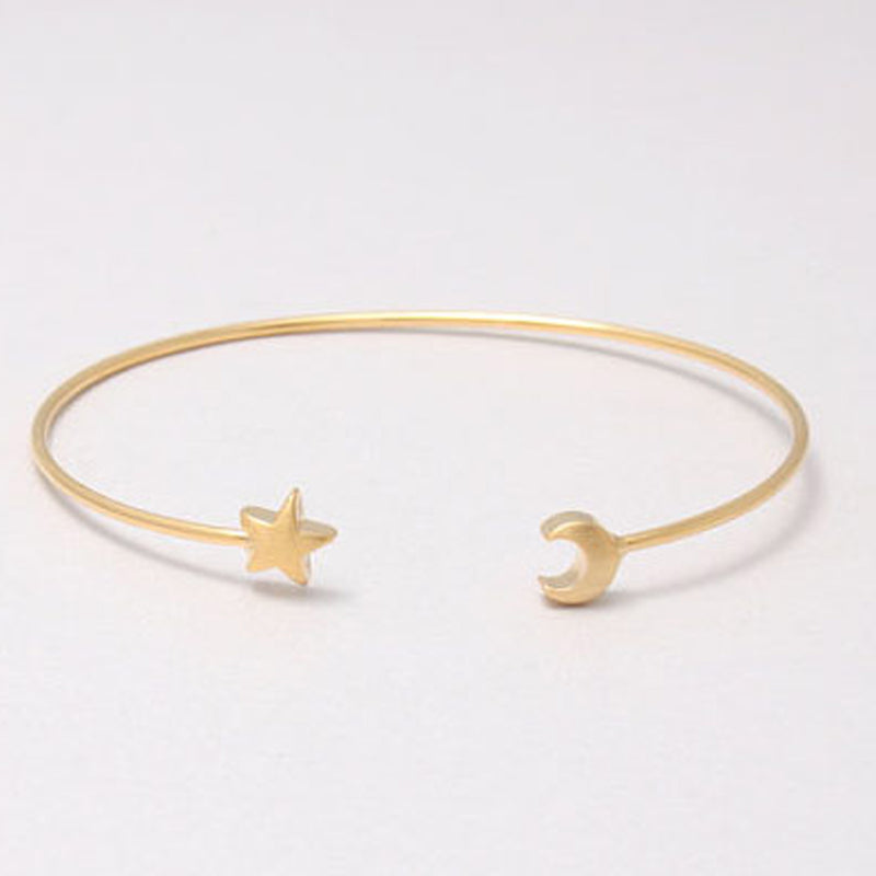 Cute Modern Bracelet Simple Minimalist Star Moon Bangle in Gold, Silver for Women for Teen Girls (www.Jewolite.com) #bracelets