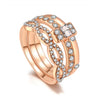 Jazlyn Solitaire Square Cushion Cut Topaz Gemstone Crystal Band Encrusted Ring