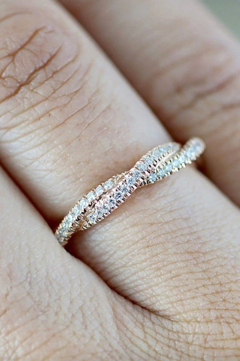 Cute Simple Dainty Everyday Ring - Crystal Twist Pave Fashion Jewelry for Teens Women's Stackable Crystal Rose Gold Silver Ring -  lindo anillo simple - (www.Jewolite.com) #rings