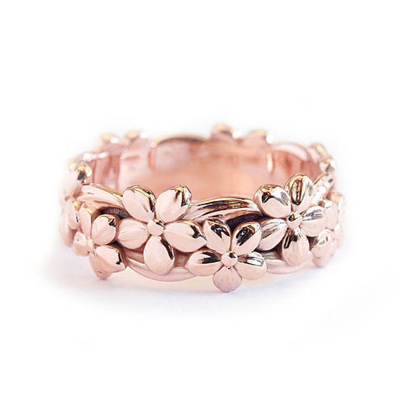 Cute Boho Rose Ring Floral Flower Band Rings in Rose Gold, Silver Fashion Jewelry for Women for Teens lindo anillo de banda de flores (www.Jewolite.com)