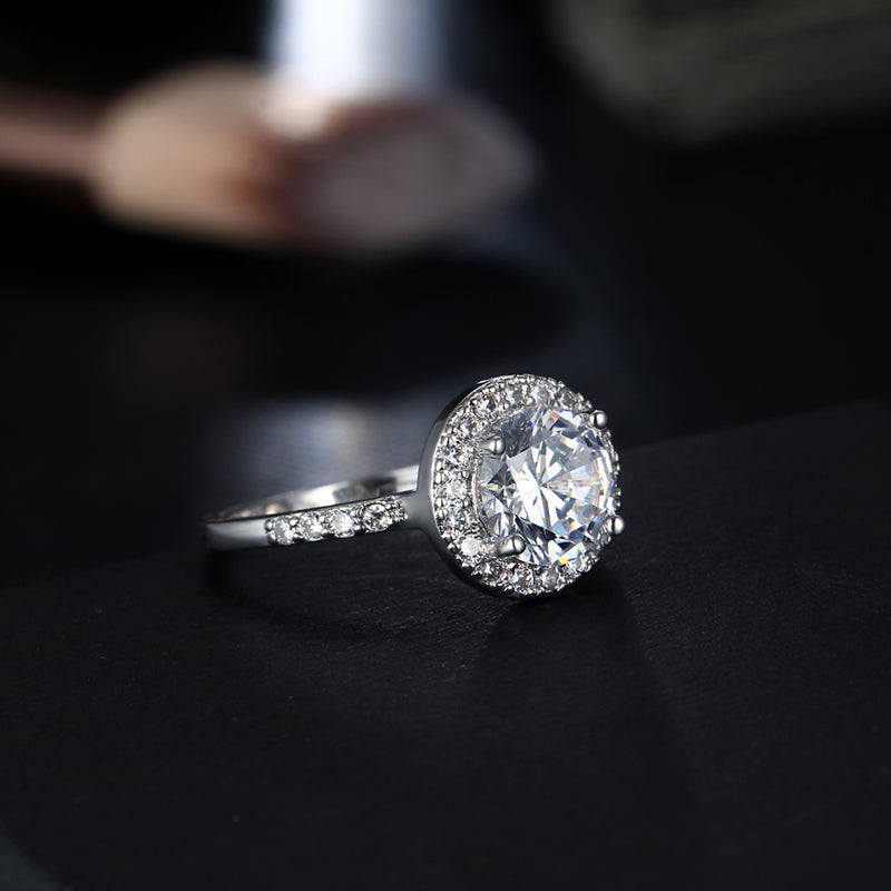 Classic Halo Ring Simple Sparkly Rings Cute Large Crystal Cubic Zirconia Rings Promise Engagement Wedding Present in Silver Statement Fashion Jewelry for Women (www.Jewolite.com) #rings
