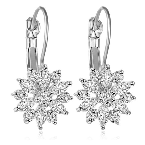 Laurie Cute Crystal Flower Dangle Drop Silver Earrings