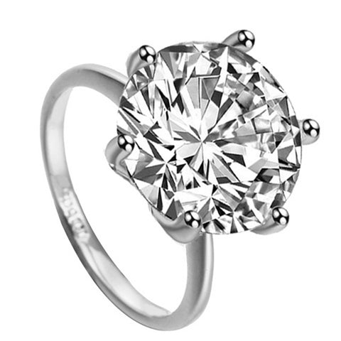 Ava Cute Small Crystal Heart Solitaire Fashion Ring
