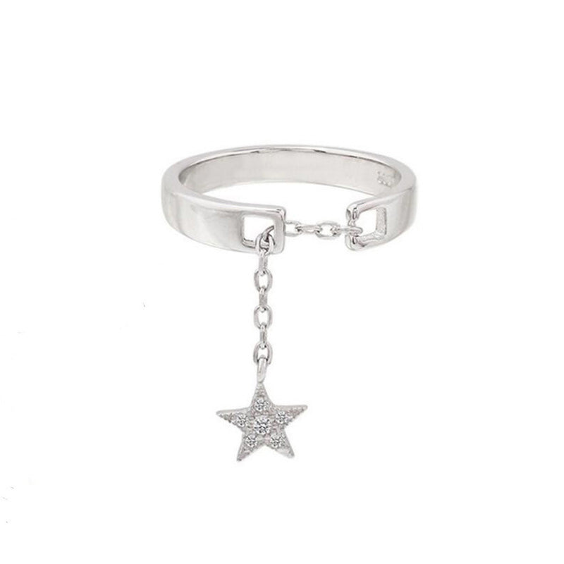 Cute Unique Star Moon Dangle Ring Rings for Teens Fashion Jewelry for Women in Silver anillos de estrellas o luna de plata (www.Jewolite.com)
