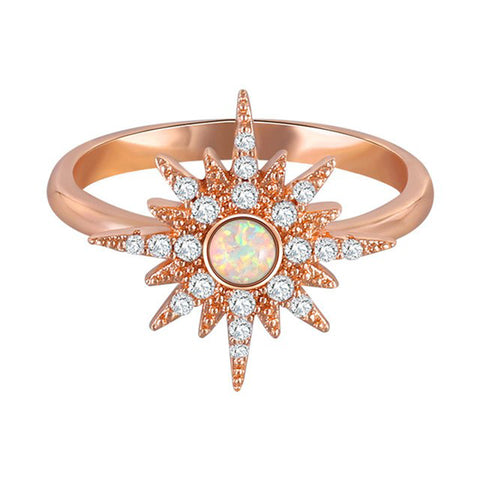 Celestia Boho Cute Opal Stars & Moon Rose Gold Statement Ring