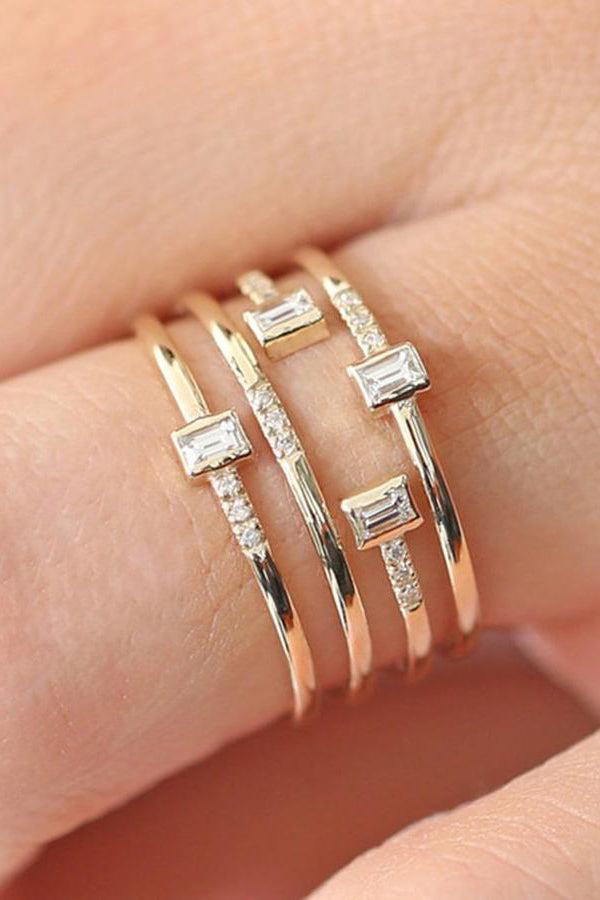 Cute Rectangle Layered Trending Artistic Ring Fashion Jewelry for Women - anillo en capas - www.Jewolite.com  Edit alt text