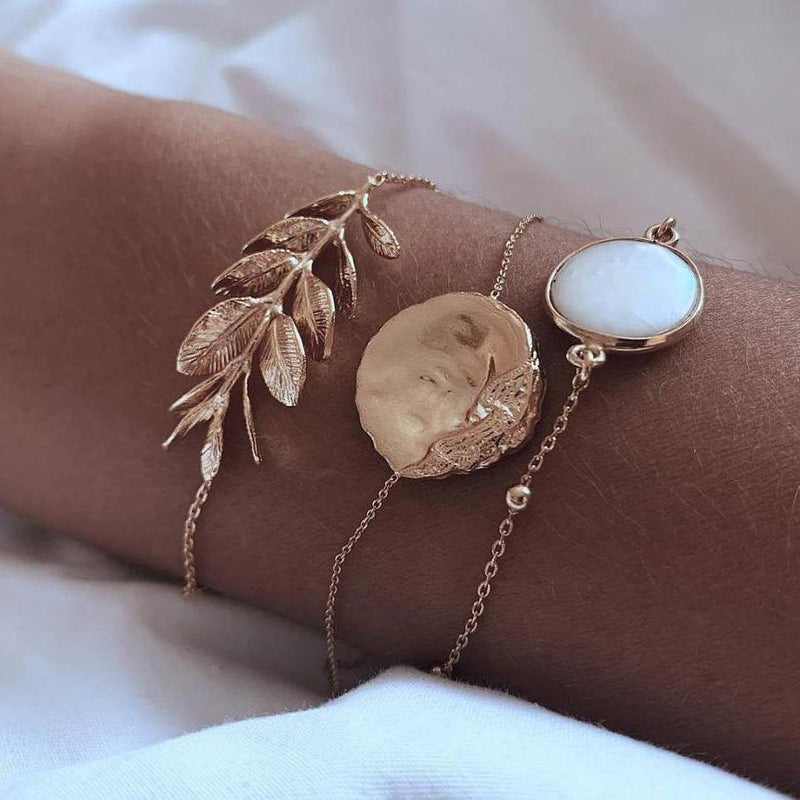 Cute Opal Gold Leaf Bracelet Set Fashion Jewelry for Women for Teen Girls - www.Jewolite.com