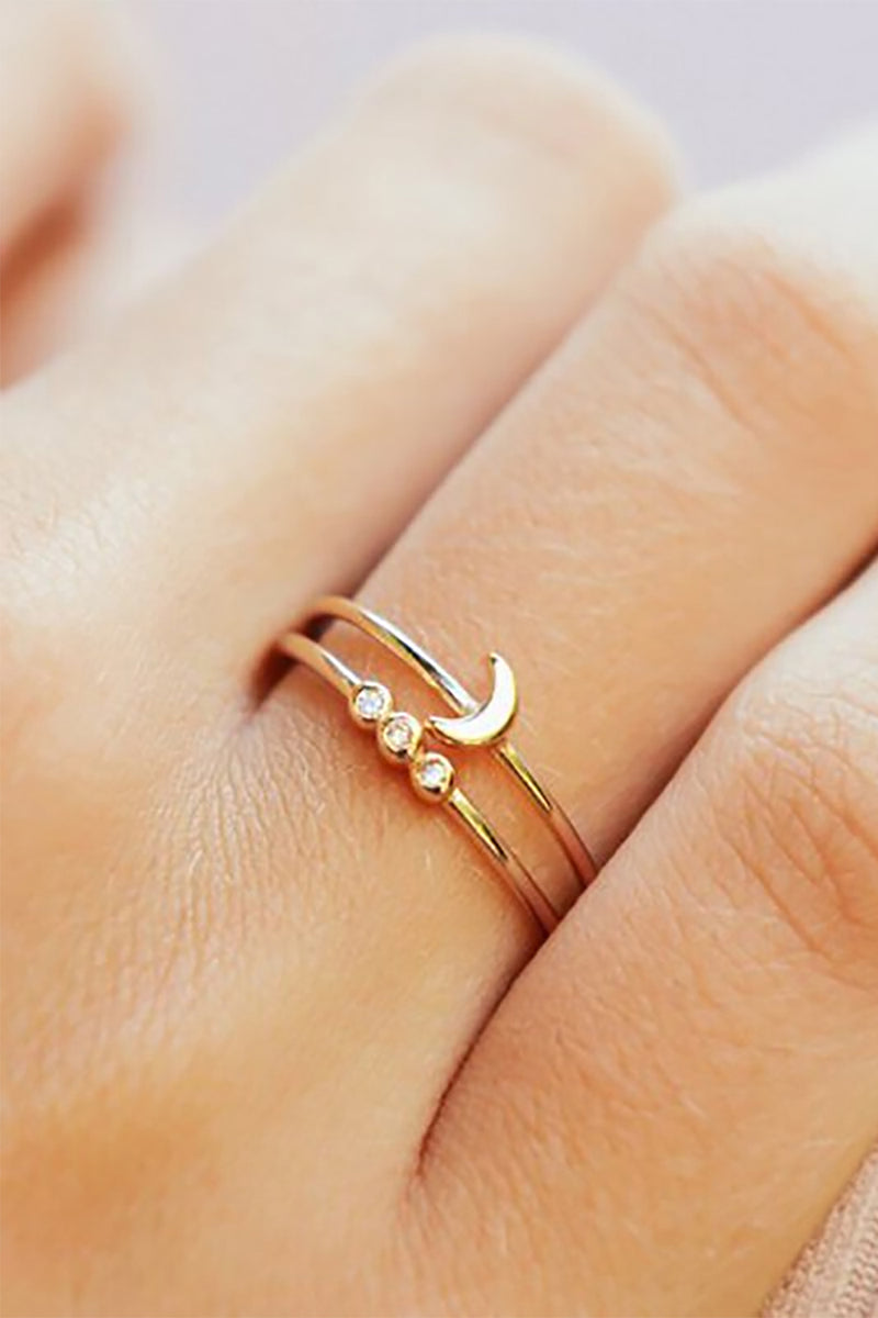Moon Ring Cute Minimalist Dainty Stackable Promise Graduation Weddings Rings Fashion Jewelry for Women in Gold - www.Jewolite.com