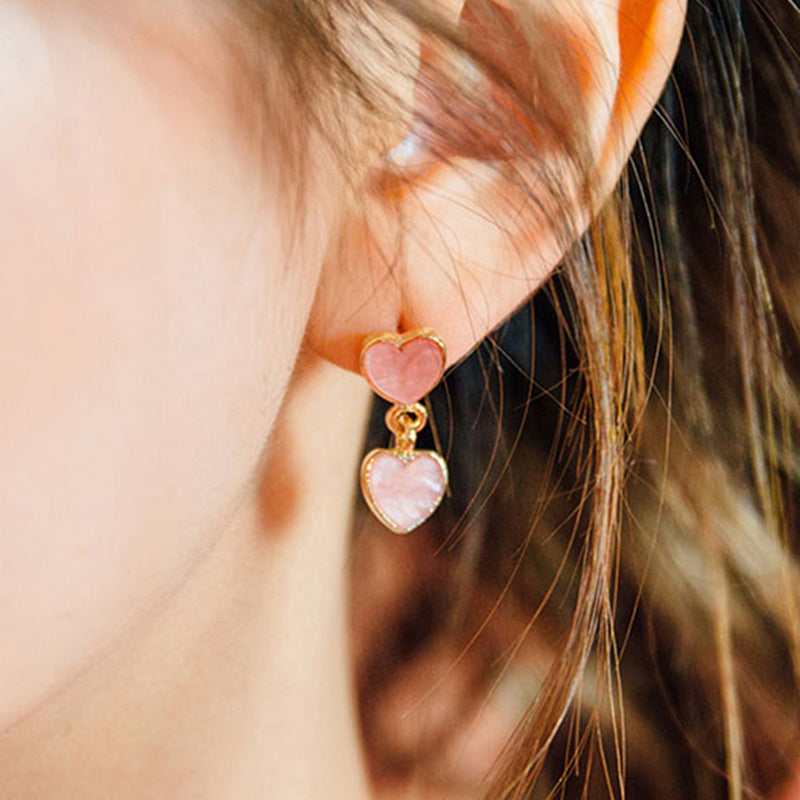 Cute Ear Piercing Ideas for Women Double Heart Dangle Drop Earrings Studs in Pink or White for Teens lindo corazón doble cuelga los pendientes para adolescentes (www.Jewolite.com)