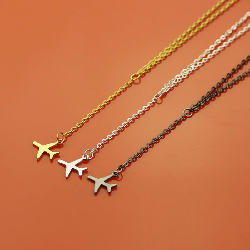Cute Dainty Airplane Pendant Chain Lariat Necklace Choker in Gold or Silver or Black for Teen Girls Women - lindo collar colgante de avión para chicas adolescentes - www.Jewolite.com