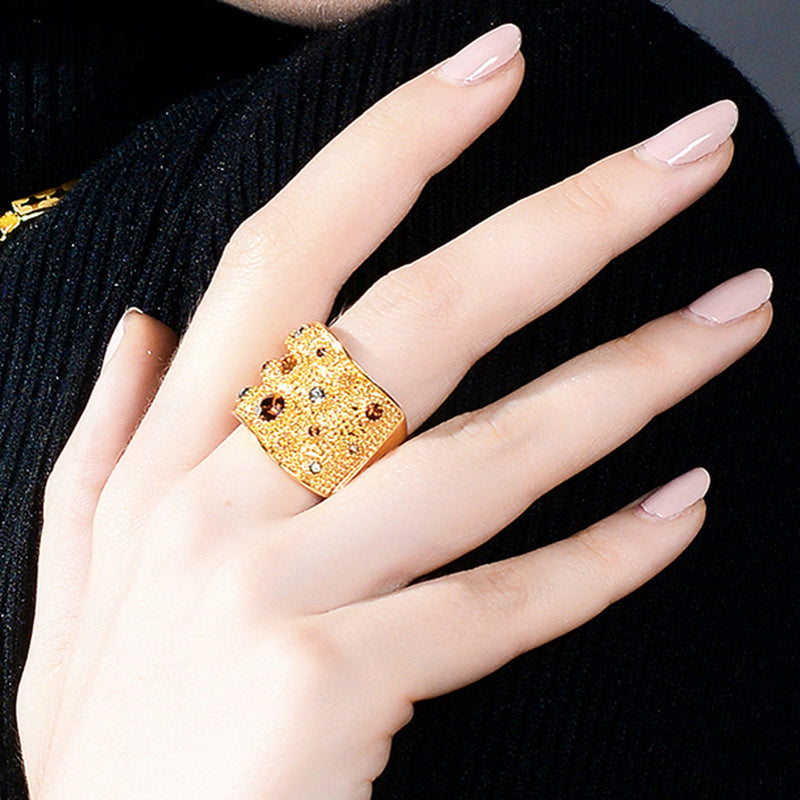 Chunky Gold Modern Cocktail Ring Cool Unique Multicolour Band Rings Statement Fashion Jewelry for Women (www.Jewolite.com) #rings