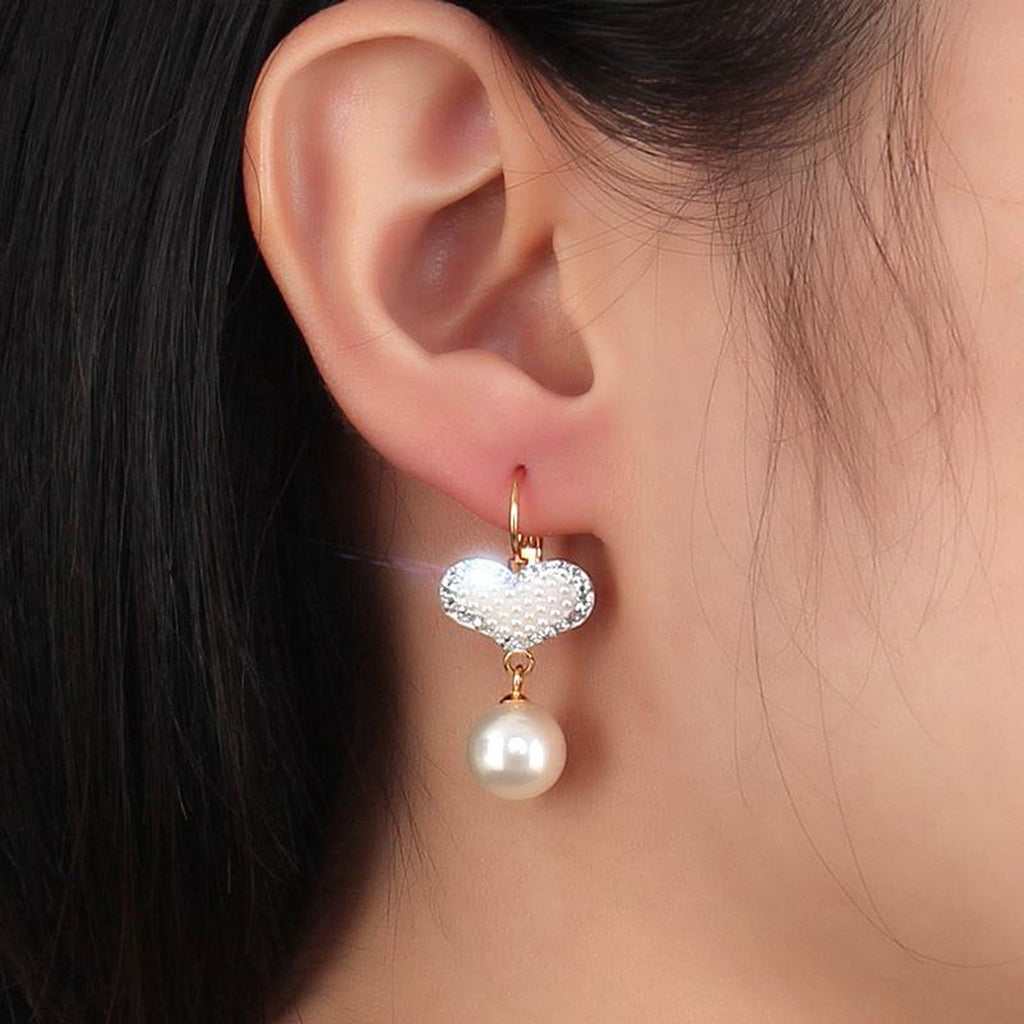Fancy Prom Heart Pearl Dangle Drop Earrings for Women for Teens Girls Elegant Classy in Gold (www.Jewolite.com) #earrings