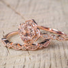 Cute Cushion Cut Morganite Halo Ring Modern Rose Gold Pink Crystal Engagement Promise Anniversary Graduation Wedding Rings Fashion Jewelry for Teens for Women (www.Jewolite.com) #rings