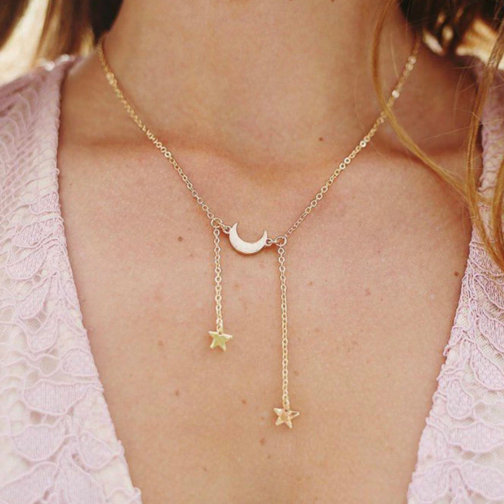 Cute Moon Star Dangle Pendant Chain Lariat Necklace Choker in Gold or Silver for Teen Girls Women - lindo collar colgante de avión para chicas adolescentes - linda estrella y luna cuelgan collar -  www.Jewolite.com