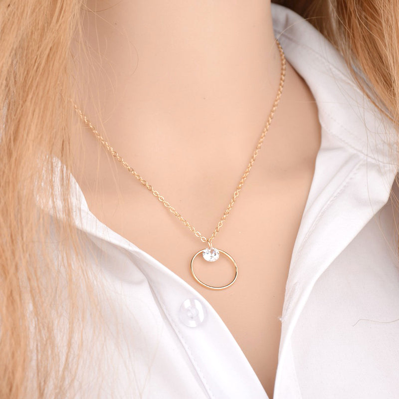 Modern Simple Crystal Circle Pendant Necklace for Women Round Double Hoop Choker lindo collar de círculo simple para mujer (www.Jewolite.com) #necklaces