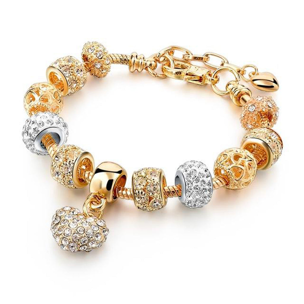 Crystal Heart Bead Charm Bracelet in Gold Chunky Statement Fashion Jewelry for Womens for Teens (www.Jewolite.com) #bracelet