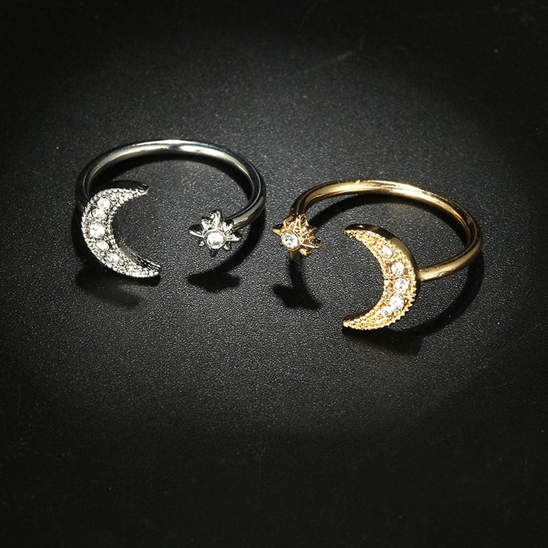 Cute Boho Moon and Sun Adjustable Ring in Gold and Silver Cool Fashion Jewelry for Teens Girls for Women lindo anillo de estrellas y luna boho (www.jewolite.com)
