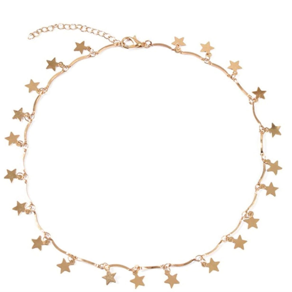 Cute Star Dangle Pendant Chain  Necklace Choker in Gold or Silver for Teen Girls Women - gargantilla estrella linda -  www.Jewolite.com