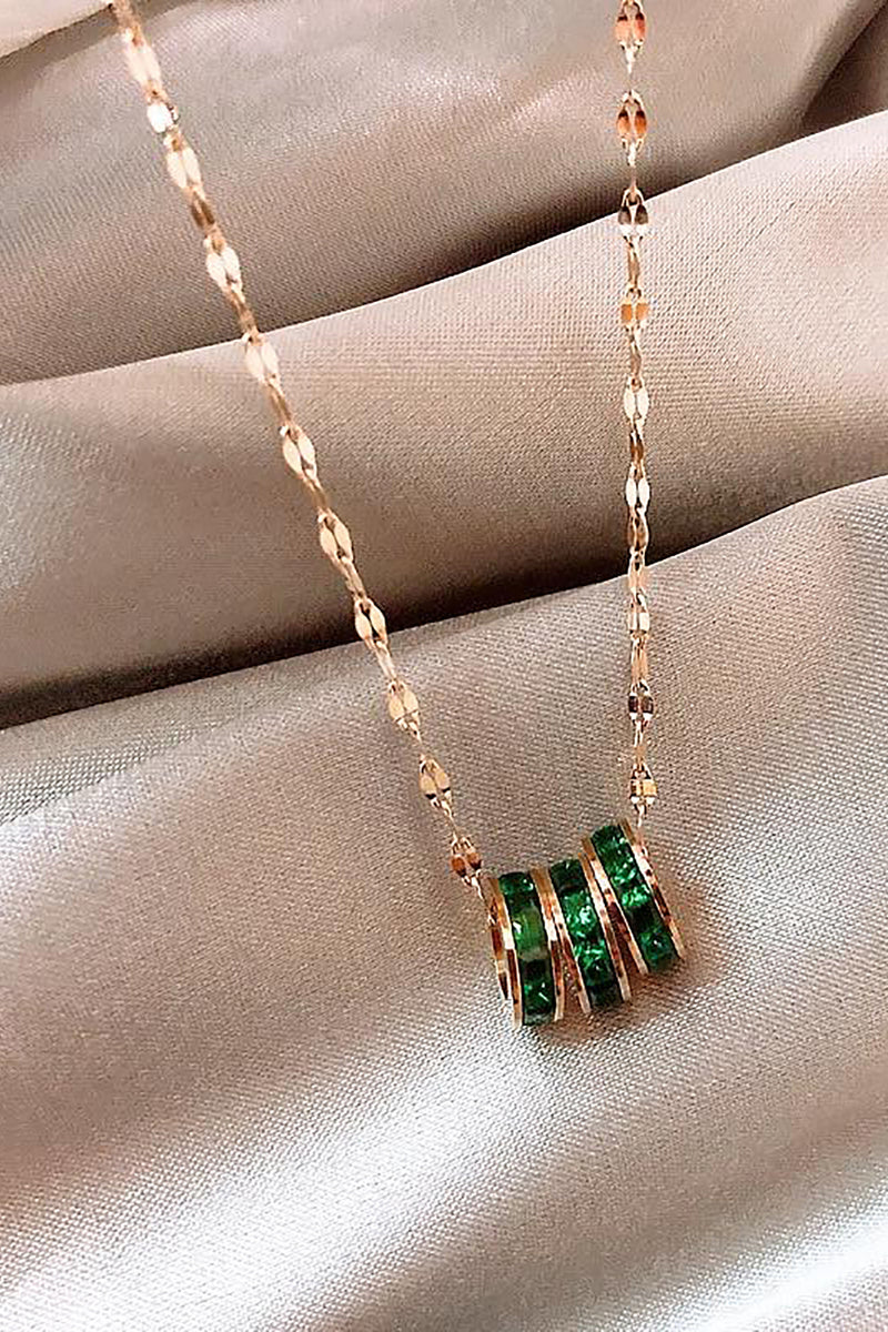 Beautiful Triple Emerald Bead Gold Chain Choker Necklace - www.Jewolite.com #necklaces Edit alt text