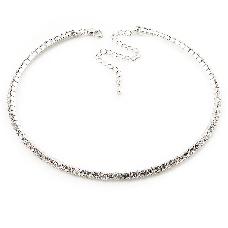 Simple Fancy Crystal Single Chain Choker Necklace collar de gargantilla cadena de cristal único (www.Jewolite.com) #necklaces