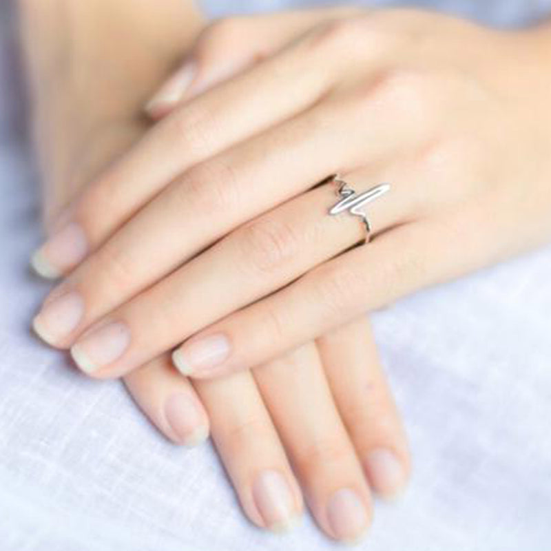 Simple Heartbeat Ring for Women Minimalist Fashion Jewelry Silver Rings - www.Jewolite.com #rings
