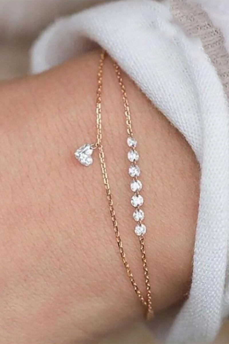 Aria Cute Dainty Simple Crystal Heart Double Layered Gold Chain Bracelet