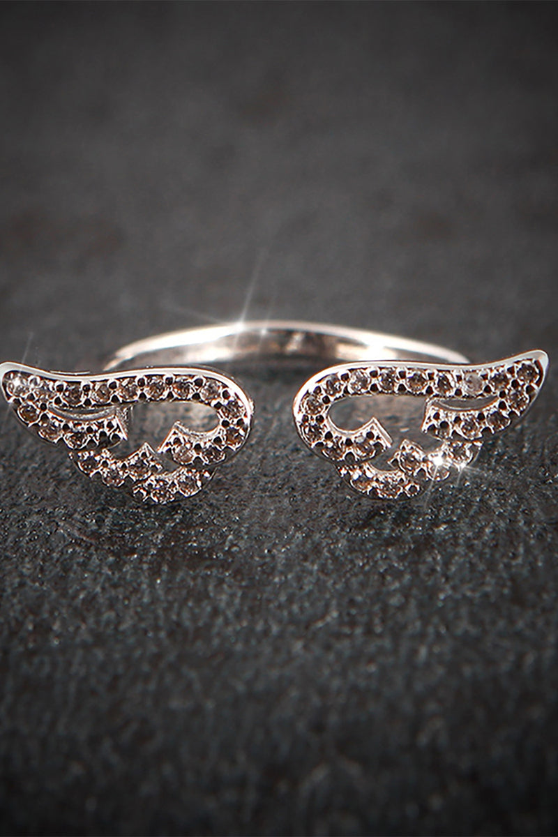 Cute Crystal Angel Wing Adjustable Ring in Rose Gold or Silver for Teen Girls for Women - lindos anillos - www.Jewolite.com