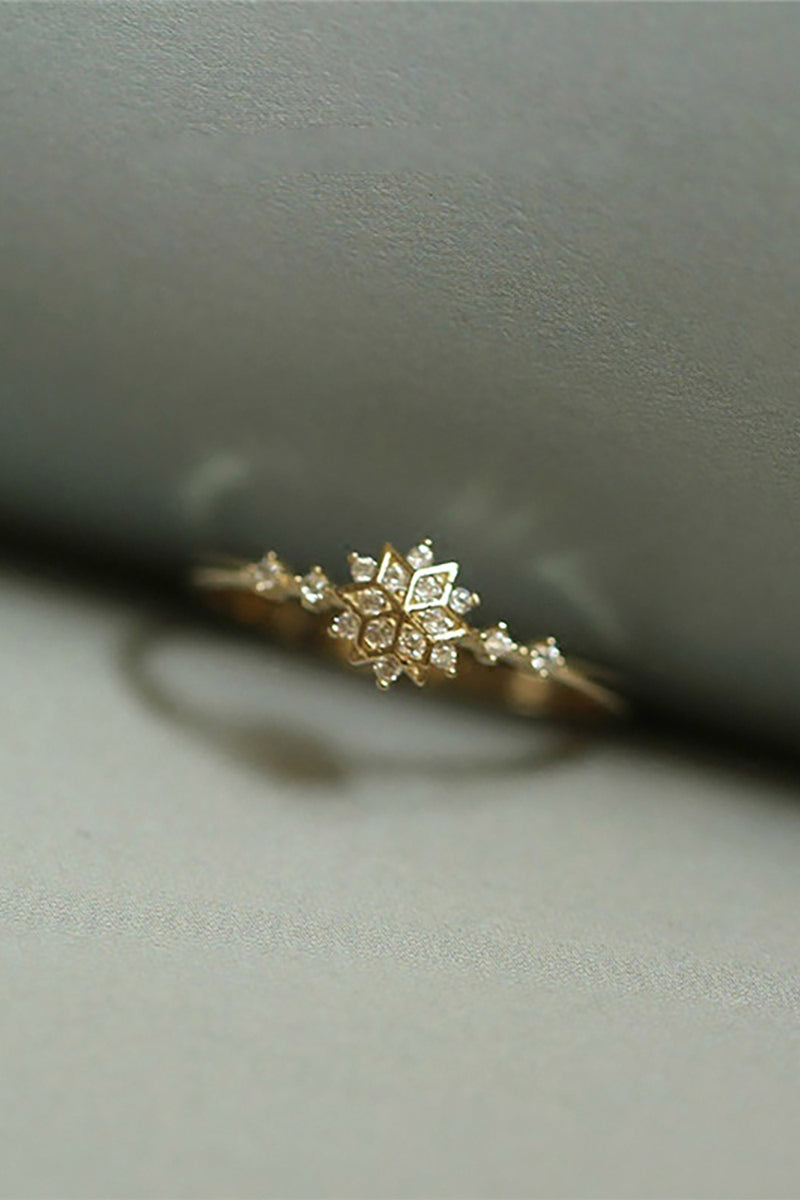 Cute Dainty Simple Snowflake Graduation Promise Graduation Ring Rings in Silver, Rose Gold - www.Jewolite.com