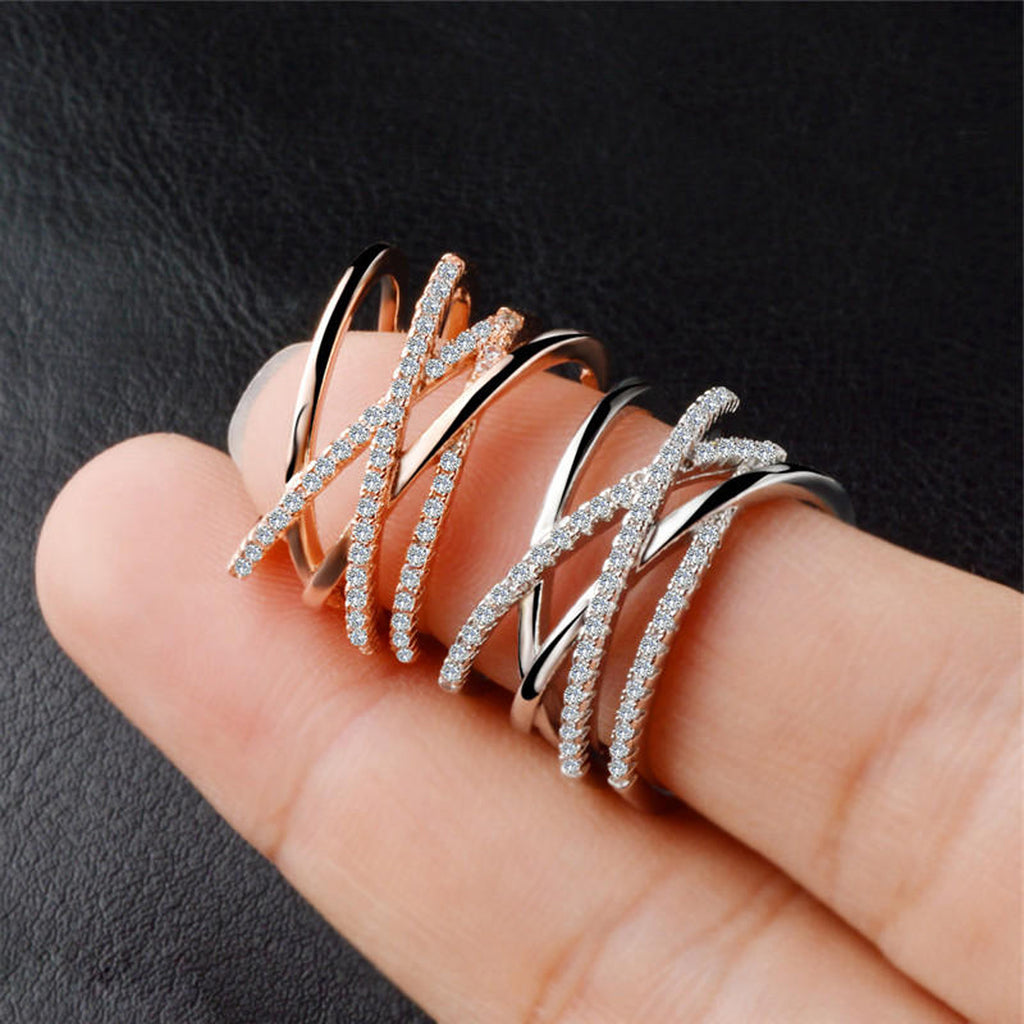 Criss Cross Band Ring Cute Chunky Crystal Celebrity Rings Anniversary Graduation Promise Engagement Wedding Present Ring Statement Fashion Jewelry for Women in Rose Gold, Silver (www.Jewolite.com) #rings