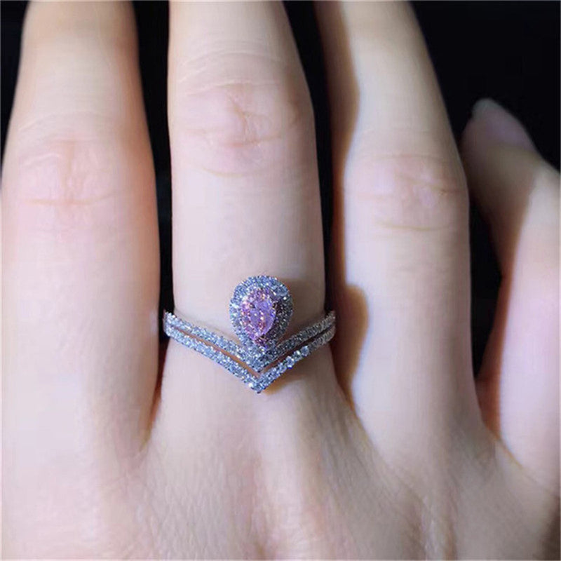 Unique Pear Cut Ring Cute Engagement Promise Graduation Wedding Rings Pink Sapphire Double Band V Arrow Crystal Diamond Fashion Statement Jewelry in Silver (www.Jewolite.com) #rings