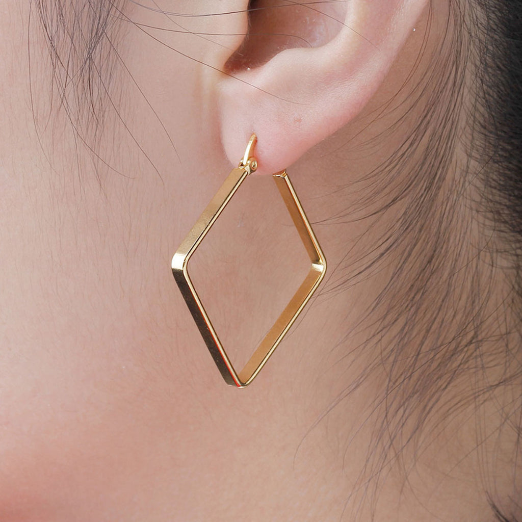 Pretty Ear Piercing Ideas Unique Diamond Large Hoop Earrings in Gold for Women for Teen Girls 40mm (www.Jewolite.com) #earrings