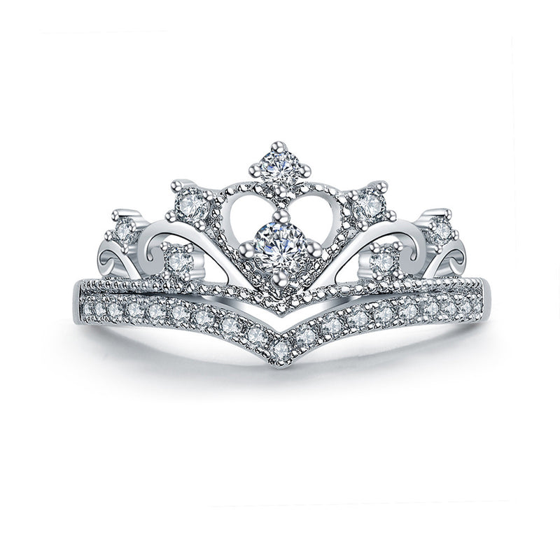 Cute Princess Crown Ring Crystal Anniversary Graduation Promise Engagement Wedding Ring Set in Silver Statement Fashion Jewelry for Women promesa de compromiso de corona de princesa única anillo de graduación de aniversario de boda (www.Jewolite.com) #rings