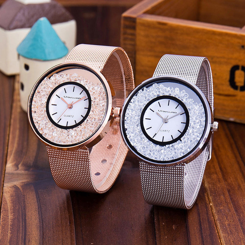 Cute Minimalist Simple Women's Watches in Silver / Gold / Rose Gold Loose Crystals in Face Simple Fashion Jewelry Luxury for Ladies - hermosos relojes de mujer lindos minimalistas - (www.Jewolite.com)