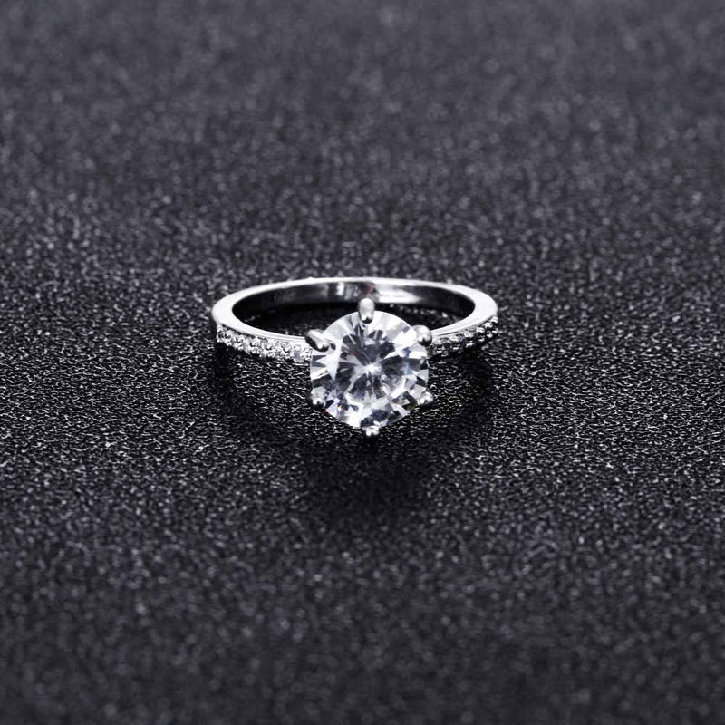 Simple Sparkly Solitaire Ring Cute Large Crystal Cubic Zirconia Rings Graduation Promise Engagement Wedding Present Ring Set in Silver or Rose Gold Statement Fashion Jewelry for Women (www.Jewolite.com) #rings