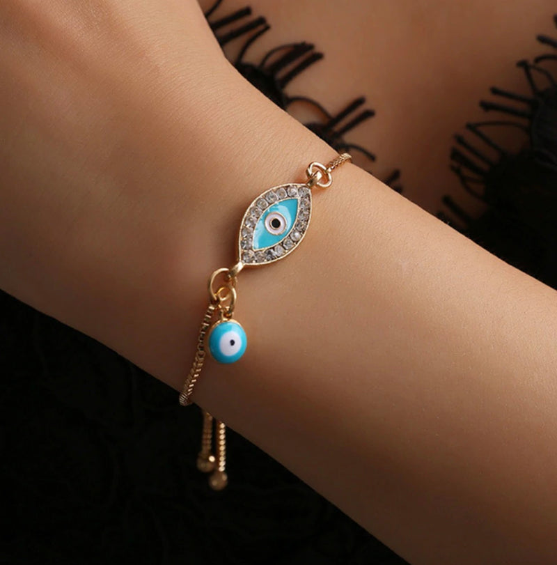 Cute Enamel Blue Evil Eye Charm Stacked Beaded Blue Bracelet Set in Gold Statement Fashion Jewelry for Women for Teen Girls - www.Jewolite.com