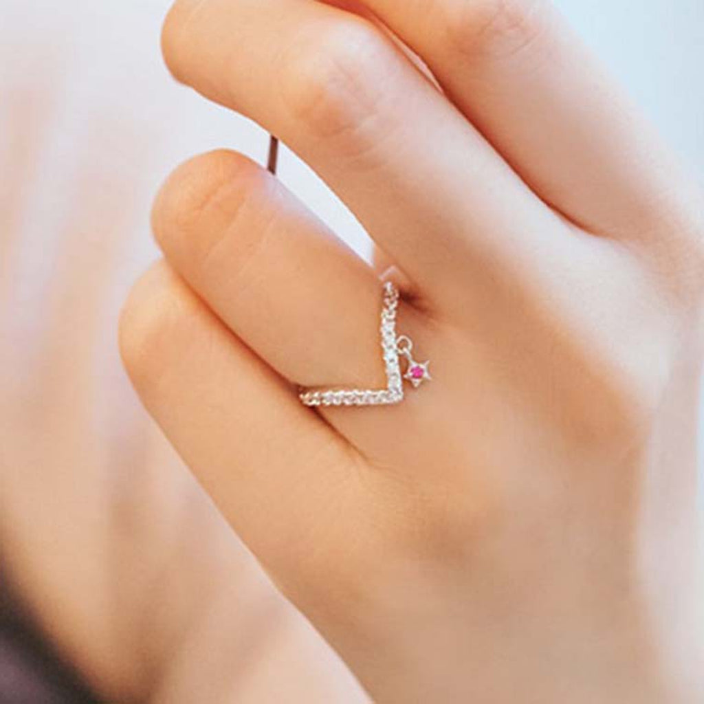 Dainty Dangle Crystal Arrow Stackable Adjustable Ring for Women for Teens Girls anillos de flecha linda delicada (www.jewolite.com)