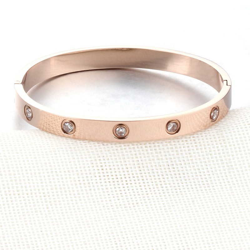 Trendy Crystal Bracelet Popular Modern Bangle in Rose Gold or Silver Fancy Fashion Statement Jewelry for Women for Teen Girls (www.Jewolite.com) #bracelets