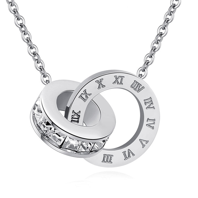 Unique Interlocking Double Circles Infinity Necklaces with Crystal Hoop Bead & Etched Engraved Roman Numerals Number collar simple del infinito (www.Jewolite.com) #necklaces