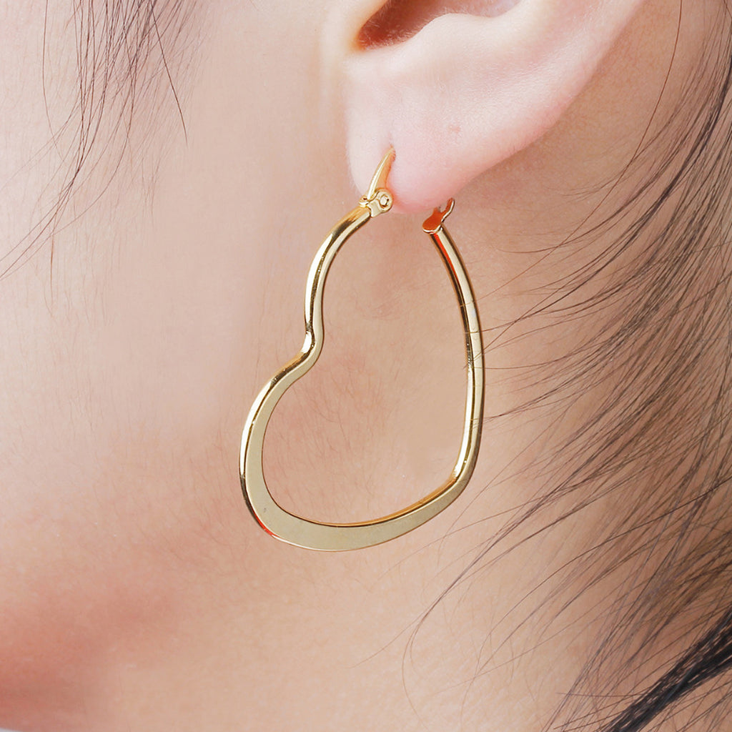 Simple Ear Piercing Ideas Unique Heart Medium Hoop Earrings in Gold for Women for Teen Girls 25mm (www.Jewolite.com) #earrings