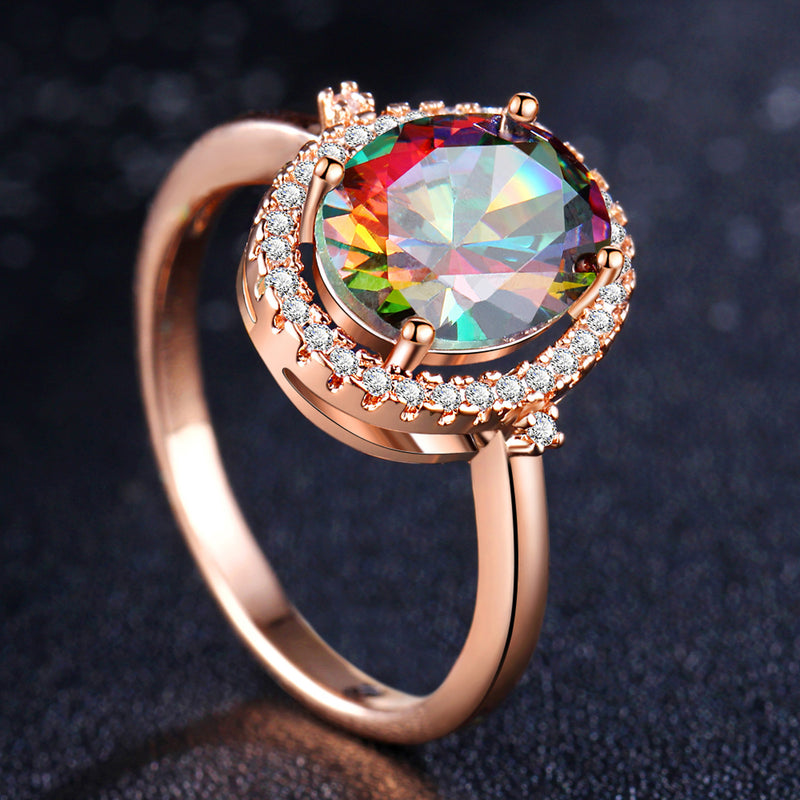 Chunky Rainbow Halo Rings Rose Gold or Silver Ring Precious Gemstone Stone Single Prong Solitaire Rings Anniversary Graduation Promise Engagement Wedding Present Ring Statement Fashion Jewelry for Women (www.Jewolite.com) #rings